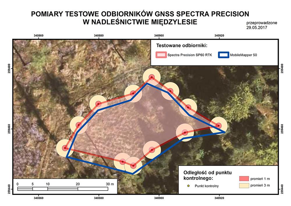 Pomiary testowe odbiorników GNSS Spectra Precision w Nadleśnictwie Międzylesie