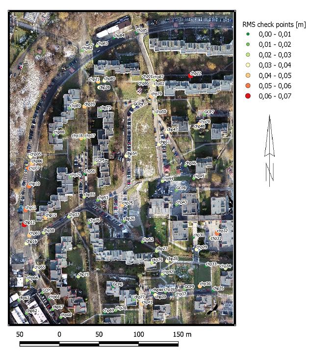 mapa odchyłek rms na punktach kontrolowanych
