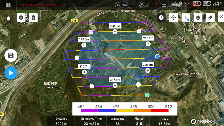 Ryc. 4. Zaplanowany nalot w DJI Pilot z uwzględnieniem deniwelacji terenu