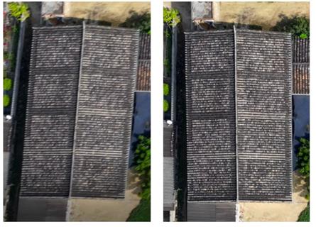 Ryc. 2. Po lewej zdjęcie z widocznym efektem rolling shutter, po prawej zdjęcie wykonane kamerą z migawką global shutter